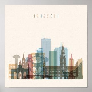 Poster Horizon de ville de Bruxelles, Belgique |