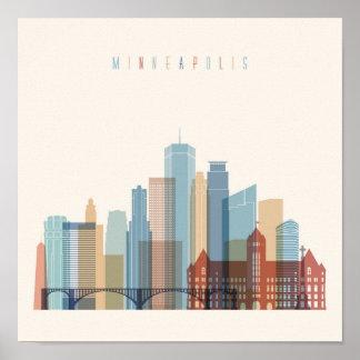 Poster Horizon de ville de Minneapolis, Minnesota  
