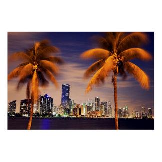Poster Horizon des Etats-Unis, la Floride, Miami au crépu
