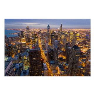 Poster Horizon du centre de Chicago au crépuscule