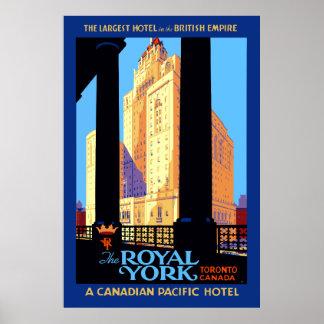 Poster Hôtel royal Toronto Canada de York de voyage