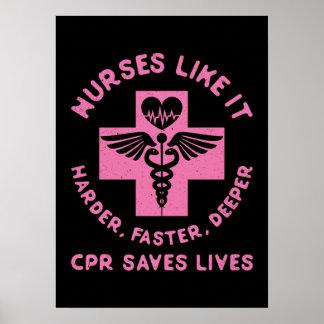 Poster Humour d'infirmière - les vies d'économies de CPR