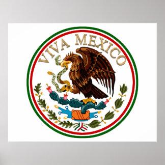 Poster Icône de drapeau mexicain du Mexique de vivats