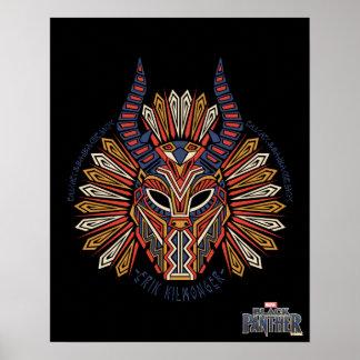 Poster Icône tribale noire de masque de la panthère |