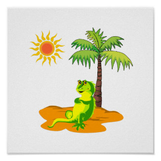 Poster Iguane dans le désert