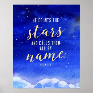 Poster Il compte l'art de mur d'étoiles