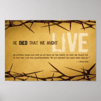 Poster Il est mort que nous pourrions vivre affiche d'art