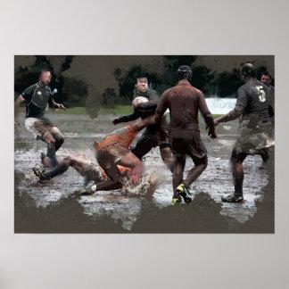 Poster Il prend les boules en cuir pour jouer au rugby