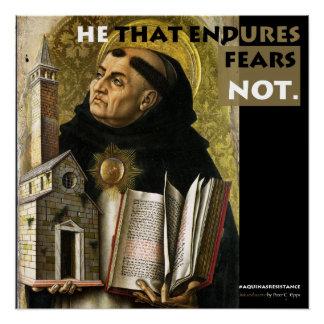 Poster Il qui supporte l'affiche de résistance d'Aquinas