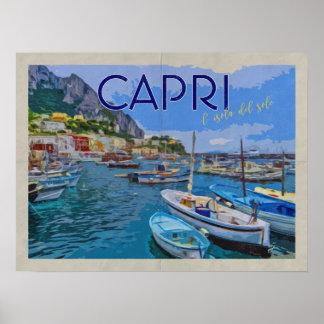 Poster Île de voyage vintage affligé parItalie de Capri
