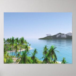 Poster Île tropicale de palmier