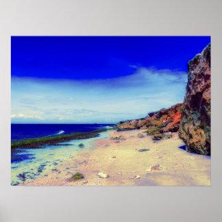 Poster Île tropicale sur la plage rocheuse