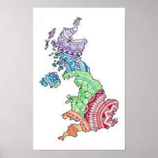 Poster Îles britanniques de mandala