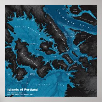 Poster Îles de Portland--Hausse extrême de mer, foncée