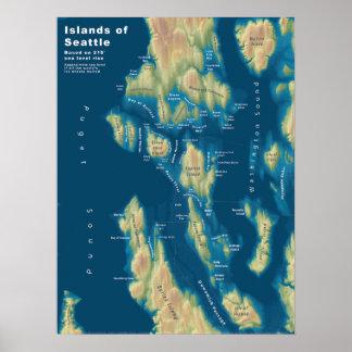"""Poster Îles de Seattle--Hausse extrême de mer, 18"""" x24 """""""