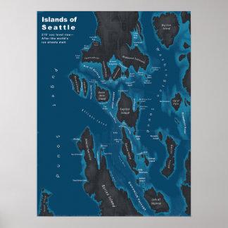 Poster Îles de Seattle--Hausse extrême de mer, foncée