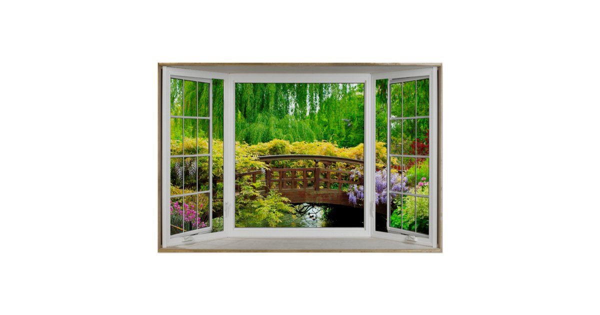 Poster illusion blanche de fen tre en saillie paysage for Fenetre windows 8