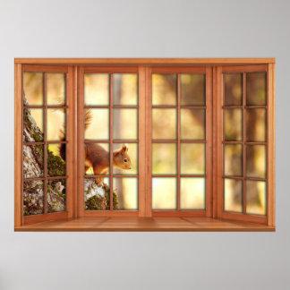 Poster Illusion de fenêtre de carreau en bois 4 -