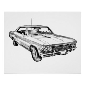 Poster Illustration 1966 de Chevy Chevelle solides