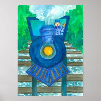 Poster Illustration bleue d'aquarelle de train