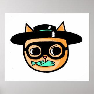 Poster Illustration de cambrioleur de chat