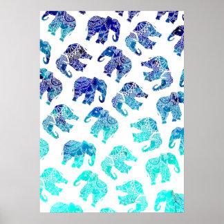 Poster Illustration d'éléphants d'aquarelle de turquoise