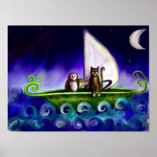 Poster Illustration originale de hibou et de minou