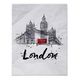 Poster Illustration sensationnelle de Londres, Angleterre