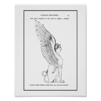 Poster Illustration vintage de sphinx