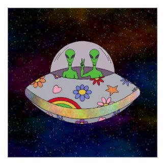 Poster Ils viennent dans l'UFO de paix