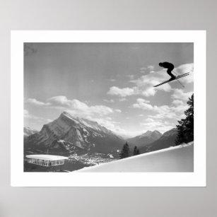 Poster Image vintage de ski, course finale pour la