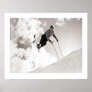 Poster Image vintage de ski, tours sur des skis