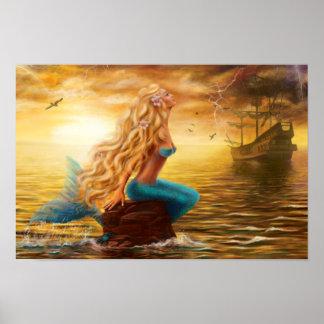 Poster Imaginaire de sirène d'affiche