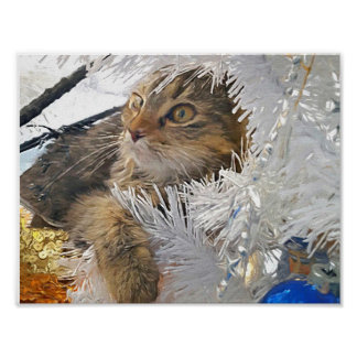 Poster Impressionisme de chat de Noël