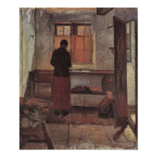 Poster Impressionisme vintage, fille dans la cuisine,