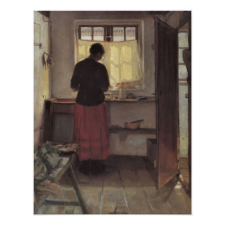 Poster Impressionisme vintage, Pigen i Køkkenet, Ancher