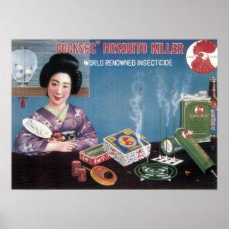 Poster Insecticide japonais vintage Adver de tueur de