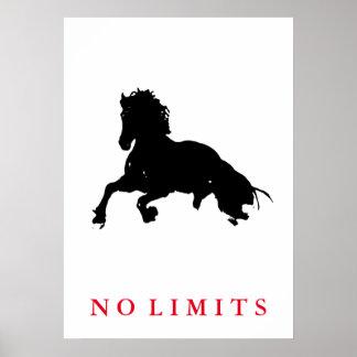 Poster Inspiré aucun art de bruit de cheval blanc de noir