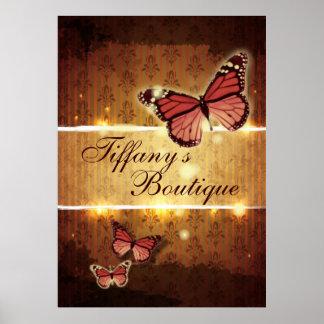 Poster Instructeur curatif holistique de yoga de papillon