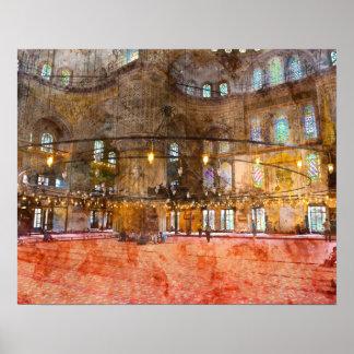 Poster Intérieur de mosquée bleue à Istanbul Turquie