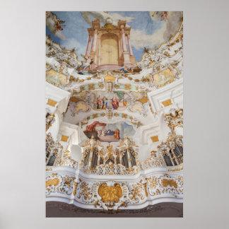 Poster Intérieur d'église de Wieskirche