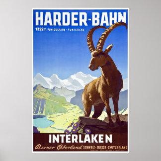 Poster Interlaken, Suisse, affiche de voyage de ski