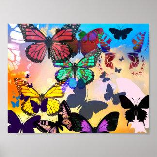 Poster Invasion de papillon
