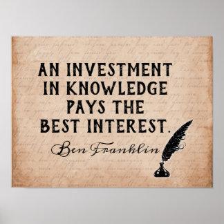 Poster Investissez dans la connaissance - citation de Ben