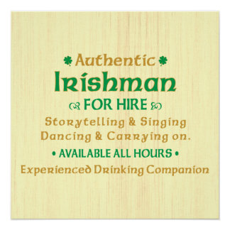 Poster Irlandais authentique pour la location drôle