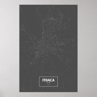 Poster Ithaca, New York (blanc sur le noir)