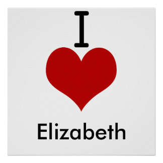 Poster J'aime (coeur) Elizabeth