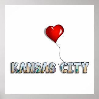Poster J'aime Kansas City avec l'horizon de kc à