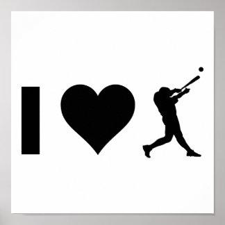 Poster J'aime le base-ball
