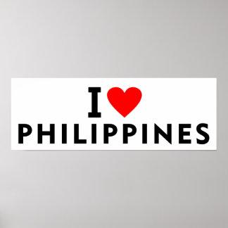 Poster J'aime le pays de Philippines comme le touri de